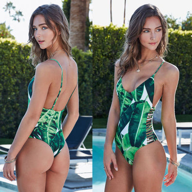 LEAF PRINT PADDED ONE-PIECE BATHING SUIT - greenwichvillagegoods