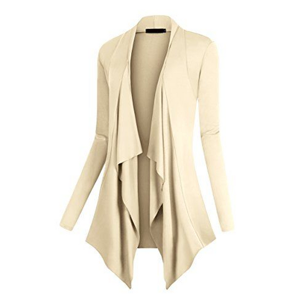 Irregular Hem Long Sleeve Drape Front Open Cardigan