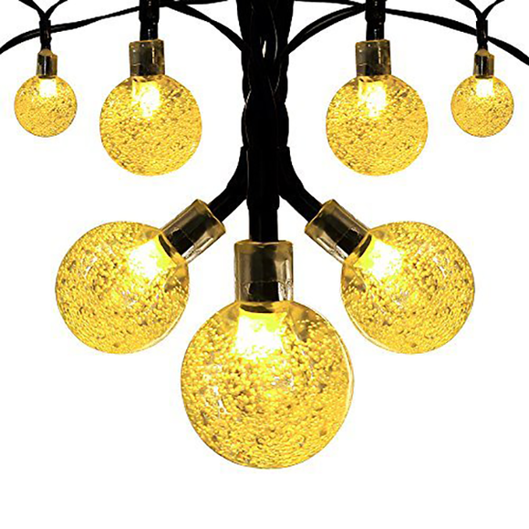 20 LED Solar-Powered Crystal Ball String Lights
