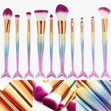 Mermaid Tail Rainbow Brush Set