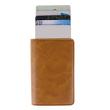RFID Aluminium Alloy Credit Card Holder PU Leather Wallet