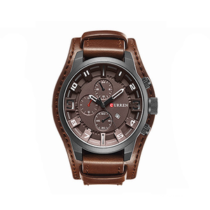 Leather Strap Brown Watch