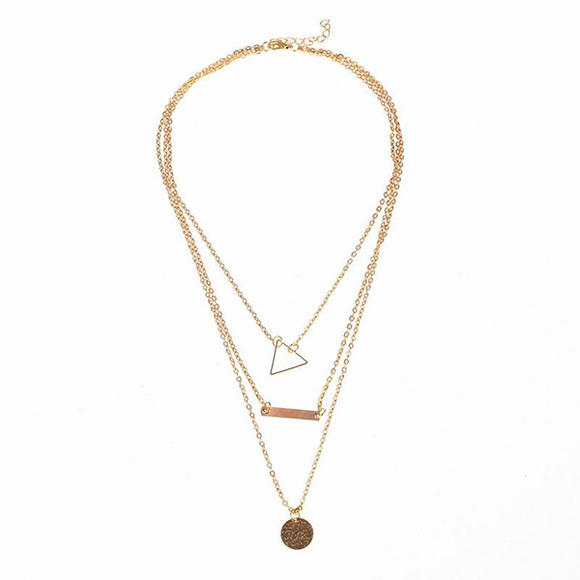 Vintage Hollow out Triangle Layer Necklace