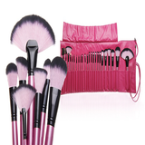 24 Piece Professional Makeup Brush Set with Case - Hot Pink