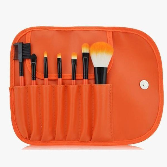 7 Piece Classic Brush Set in Orange
