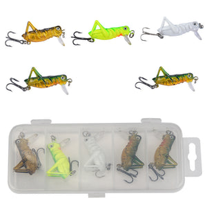 MUQGEW 5pc/set Fishing Lures With box new road sub-bait bionic cricket series four-color  hooks insect