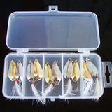 Lot 10pcs Metal Spoon Fishing Lure Spoon Sequin Saltwater Hard Baits With a box Tackle Hooks #E0
