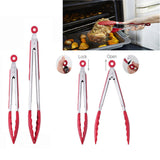 Kitchen Premium Silicone Kitchen Tongs 2 Pack 9-Inch 12-Inch Tongs Set BBQ Cooking Tool