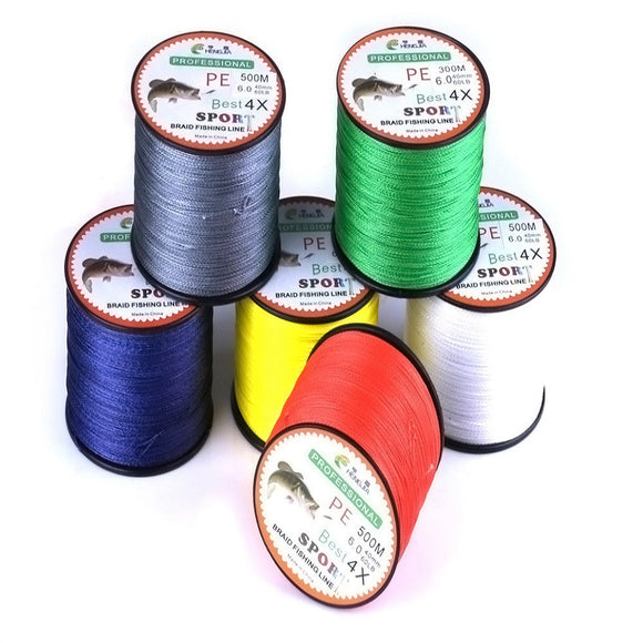 2017 High Quality 500M PE 4 Weaves Strong Power Braided Lines Strands Wire Colorful  Fishing Accessories #EW