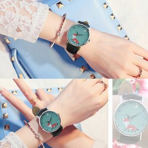 Retro Cartoon Fox Design Leather Band Analog Alloy Quartz Wrist Watch