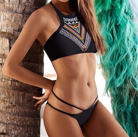 Trendy Charming Women Lady Summer Beach Sexy Bikini Set Ethnic Printing 2pcs Bikini Swimwear Bathsuit