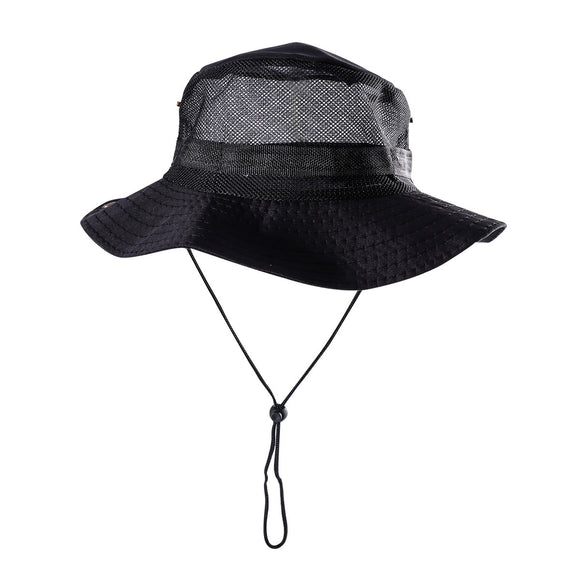 Outdoor Mesh Sunshade Fisherman Fishing Hat Sun Cap Bucket Hat with String Wide Brim Hat for Men