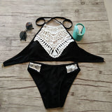 Women Sexy Bikini Swimsuit Lace Decor Two Pieces Papded Swimwear for Beach Swimming Pool