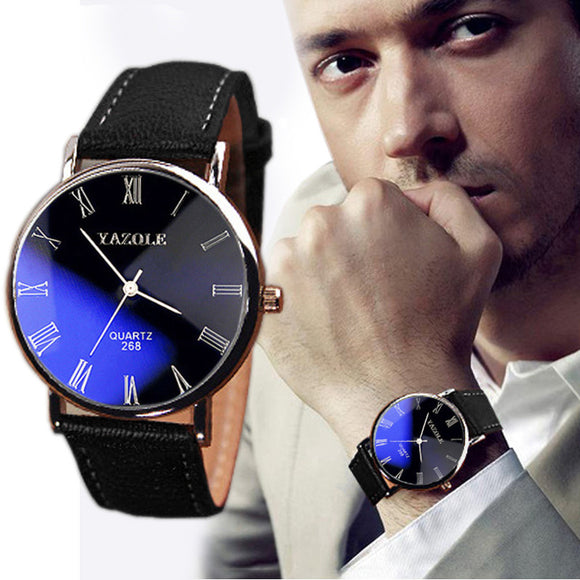 Luxury Fashion Faux Leather Mens Quartz Analog Watch Watches