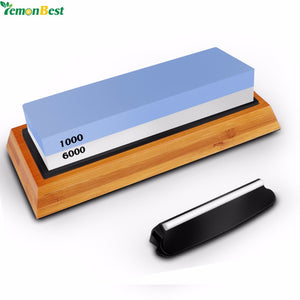 6000# 1000# Double-Sided Kitchen Knife Sharpener Stone Whetstones Tool With Non-Slip Rubber Base Bamboo Holder Best For Kitchen