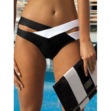 Women's Criss Cross Bandage Two Piece Push Up Color Block Sexy Bikini Swimsuit