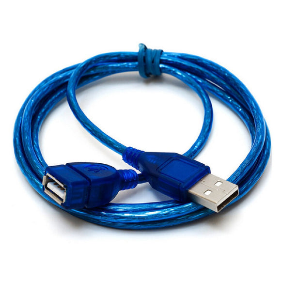 FORNORM 1m 3m USB 2.0 Extend Cable Transparent Blue Wholesale Extended USB Cable For Cameras Computer Peripherals