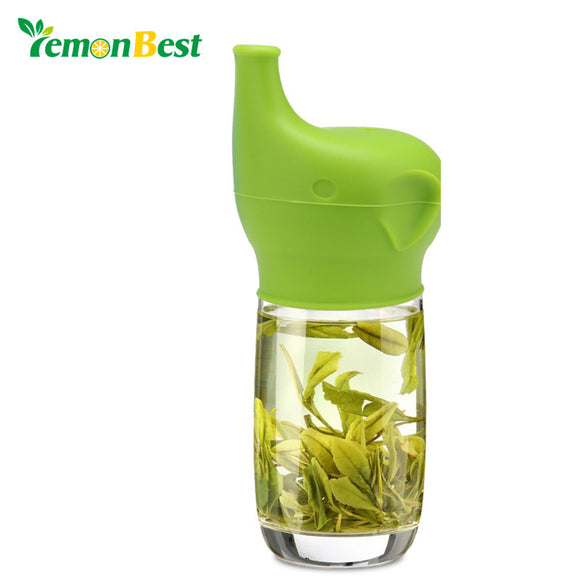 LemonBest 1 PC Silicone Sippy Lids Elephant Nose Straw Shape Cup Spillproof Cap Reusable Cup Lid Kitchen Supplies Tools
