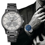 Fashion Men Crystal Stainless Steel Analog Quartz Wrist Watch Bracelet