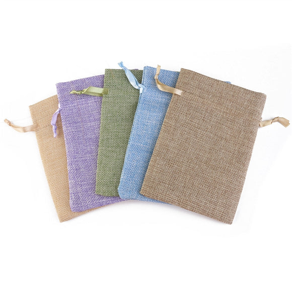 5pcs Garden Natural Linen Drawstring Bags Pouch for Favors/ Parties/ Crafting