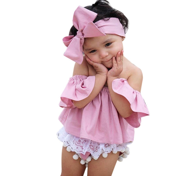 Toddler Kids Baby Girl Off Shoulder Ruffle T-Shirt Tops Summer Clothes Outfits