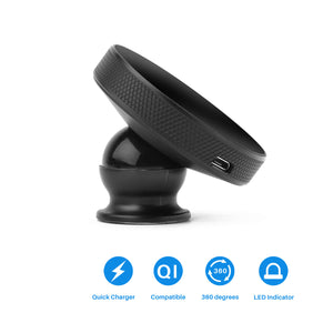Magnetic Wireless Qi Cell Phone Charger Air Vent or Dashboard Car Charging Mount Phone Holder for iPhone X/8/8 Plus Samsung S6/S7/S8