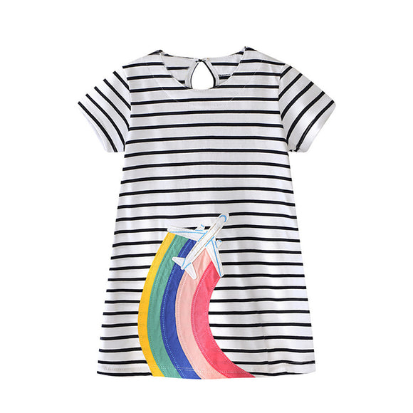 Toddler Baby Kid Girl Rainbow Embroidery Dress Stripe Dress Outfit Clothes