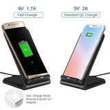 Protable Dual Coils Qi Wireless Fast Charger Stand Pad Output 9V/1.3A 10W For iPhone X/8/8 plus Samsung Galaxy S6/S7/S8/S6 edge/ S7 edge/ S8+/Note5/Note 8/ Nokie 1520/ LG G2/G3/ Nexus 5/6/7 etc