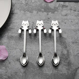 1 Piece Cute Cat Spoon Long Handle Spoons Flatware Drinking Tools Kitchen Gadget