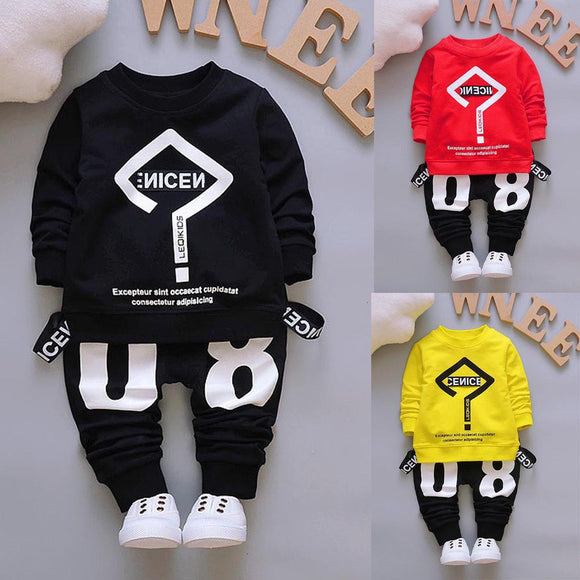Toddler Baby Kid Boy Girl Outfits Letter Printing T-shirt Tops+Pants Clothes Set