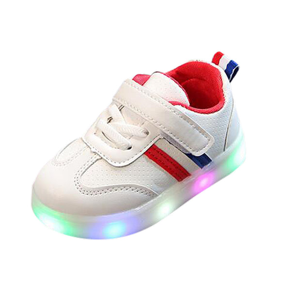 Kids Children Baby Striped Shoes LED Light Up Luminous Sneakers