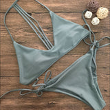 Women Bikini Set Swimwear Push-Up Padded Solid Bra Swimsuit Beachwear