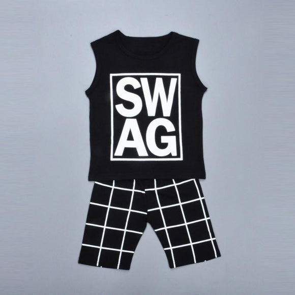 1Set Kids Boys Letter Print T-shirt Tops+Shorts Pants Outfits Children Clothes