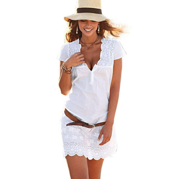 Women Summer V Neck Lace Short Sleeve Dress