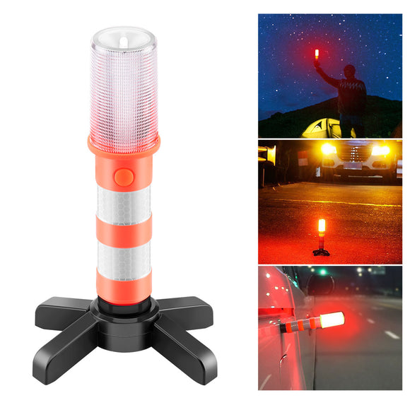 3-Light Mode Road Security Flashing Strobe Light Emergency SOS Flash Light For Traffic Warnings/Car Warnings/Roadblock Warnings /Roadblocks/Safety Flash Sticks Camping/Hiking/Fishing/Field Rescue