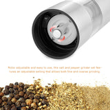 ABEDOE 2 in 1 Electric Stainless Steel Pepper Mill Salt Spice Grinder Kitchen Tool Pepper Herb Mill Pepermolen with adjustable