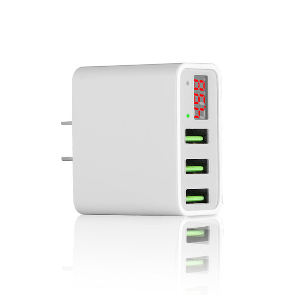 US Universal Wall Charger Travel Adapter LCD Intelligent Digital Display 5V 3A with 3 USB Ports for Smart Phone