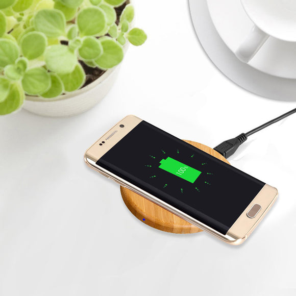 Bamboo Qi Wireless Phone Charger Wood Grain Round Charging Pad Desktop Charger For iPhone X 8 8 Plus Xiaomi Mi MIX 2S LG Sony Xperia Z3V Lumia 950/ 950 XL