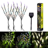 3Pcs 60 LED Solar Lawn Lights Leaf Design Light Outdoor Waterproof Lights for Christmas Wedding Party Home Bedroom Garden Decoration