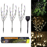 3Pcs 60 LED Solar Lawn Lights Peach Tree Design Light Outdoor Waterproof Lights for Christmas Wedding Party Home Bedroom Garden Decoration