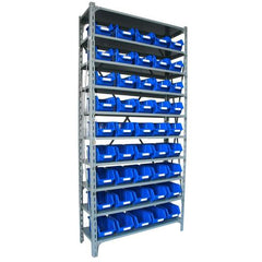steel shelving unit with bins