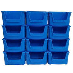 open front stacking pick bins blue
