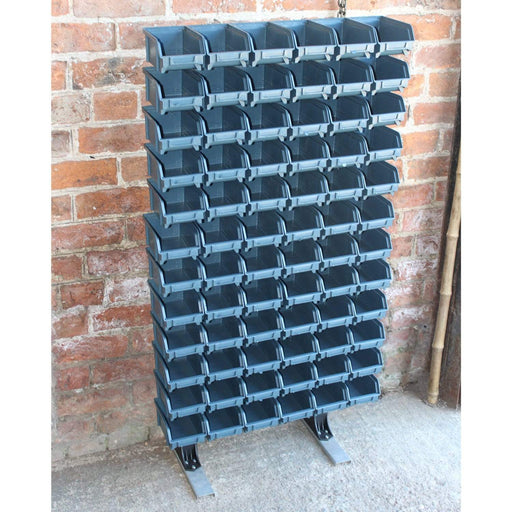 Louvre panel rack with bins