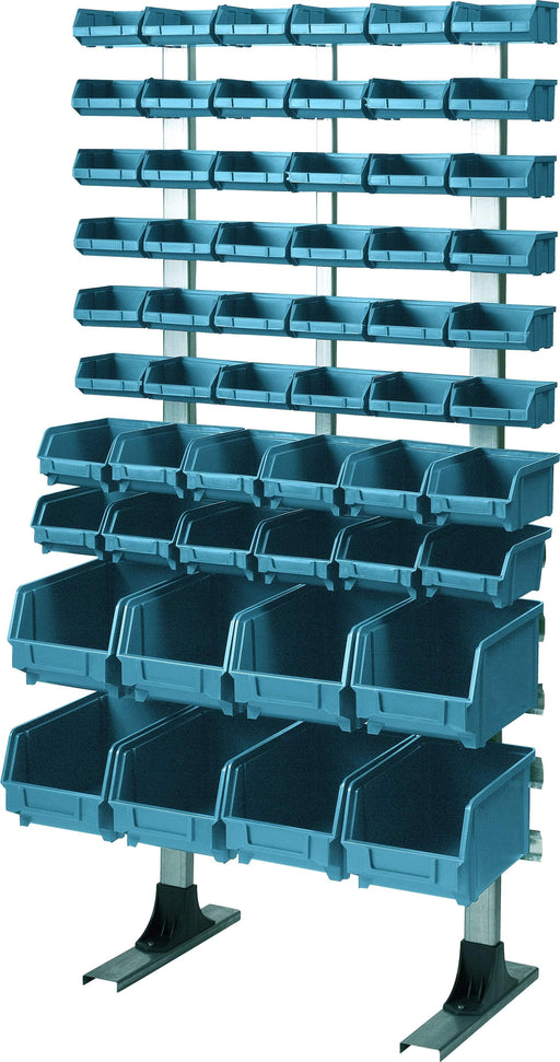 Freestanding Louvre Panel Parts Storage Bin Rack with 56 Mixed Size Bins