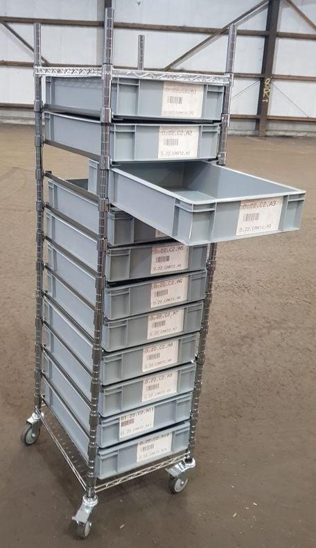 CLEARANCE: Euro Container Picking Shelf Trolley with brakes