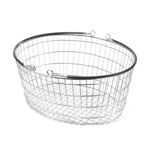 10 x Oval Wire Shopping Basket - Black Handle