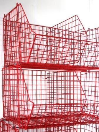Red C2DS Wire Storage Basket Showing Dividers