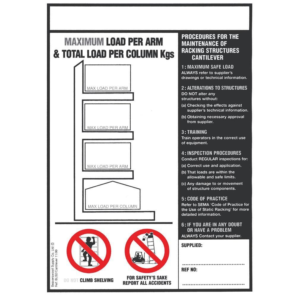 Cantilever Racking Load Notice (BLS2)