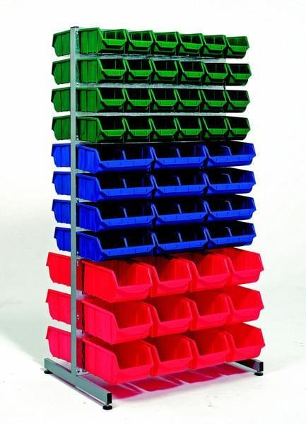 Double-Sided Louvre Panel Rack for use with Parts Bins
