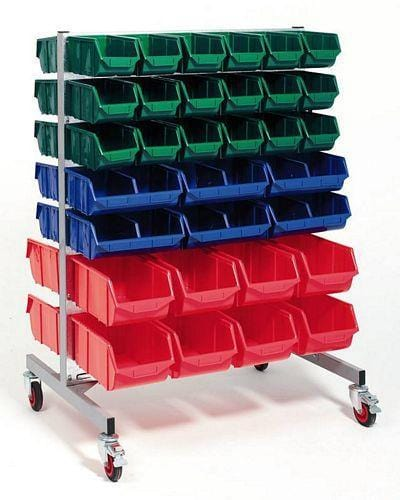FREESTANDING PARTS BIN RACK Double sided with 36 Parts bins